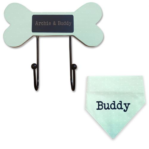 Personalised Dog Lead Hooks and Neckerchiefs Green